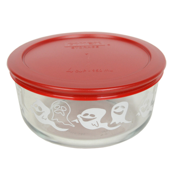 Pyrex 7201-PC 4 Cup, 950ml Decorative Bowl with Poppy Red Lid