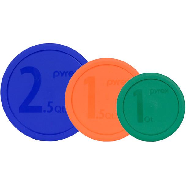 Pyrex (1) 325 2.5 Quart Blue, (1) 323 1.5 Quart Orange and (1) 322 1 Quart Green Mixing Bowl Lid