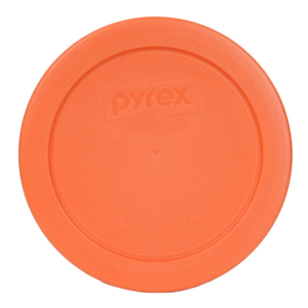 Pyrex 7200-PC Orange 2 Cup, 470ml Round BPA Free Plastic Container Lid