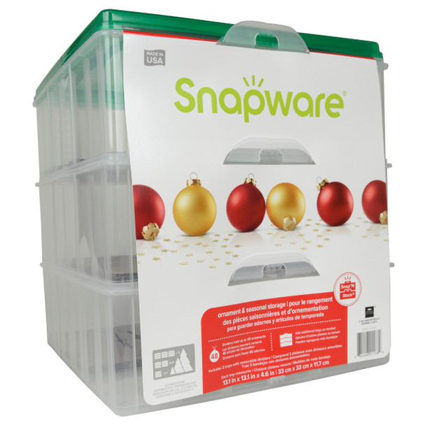"""Snapware Snap 'N Stack 1098801 3 Layer 13"""" X 13"""" Ornament Keeper"""
