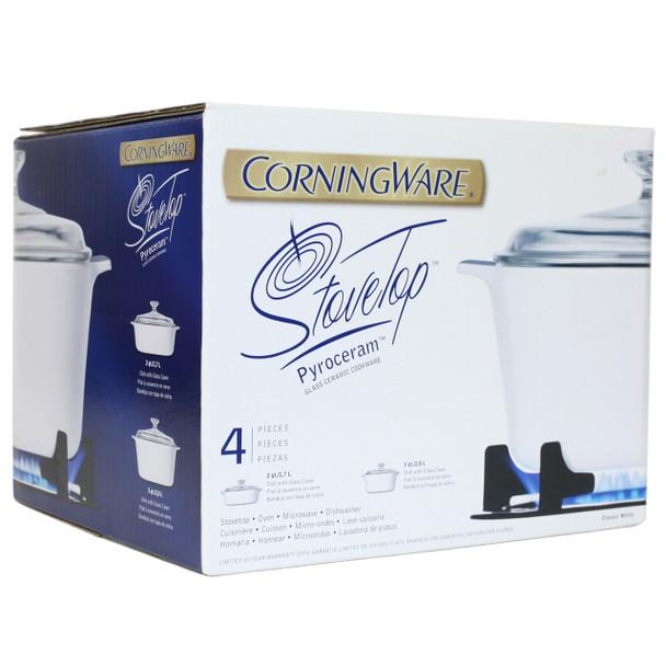 Corningware Stove-top 4pc White Pyroceram Cookware Set
