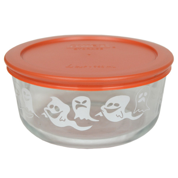 Pyrex 7201-PC 4 Cup, 950ml Decorative Glass Bowl with Orange Plastic Lid