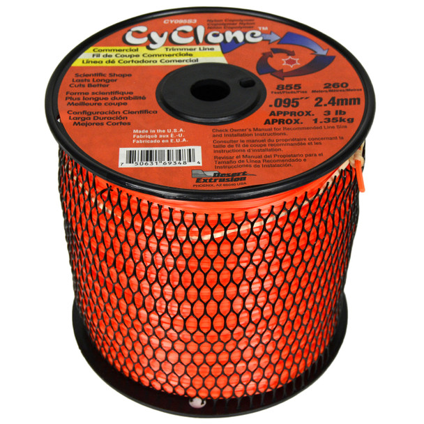 "Cyclone CY095S3 0.095"" 855ft Orange Commercial Trimmer Line"