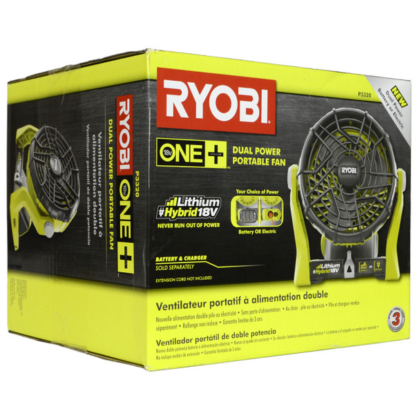 Ryobi P3320 18V Portable Hybrid Fan, Tool Only
