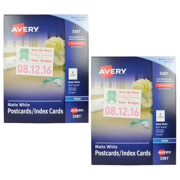 Avery 3381 Inkjet Postcard Index Cards Bundle Office Items