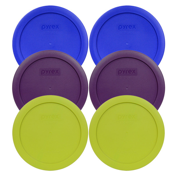 Pyrex 7201-PC 4 Cup, 950ml Round (2) Cobalt Blue, (2) Purple and (2) Green Covers - 6 Pack