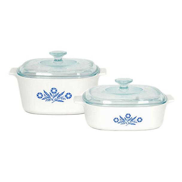 Corningware Stove-top 4pc Pyroceram Blue Cornflower Casserole Set