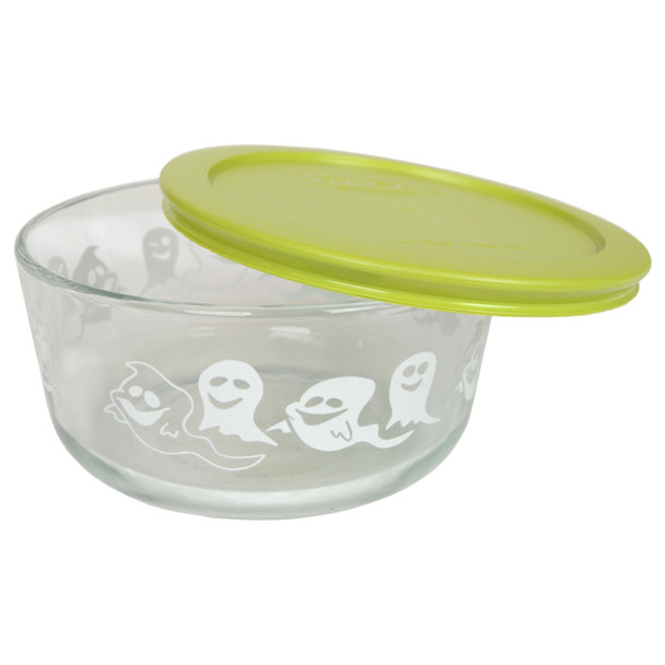 Pyrex Limited Edition 4 Cup Ghost Bowl with 7201-PC Edamame Green Lid