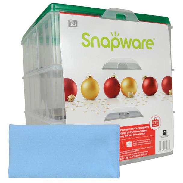 Snapware 3-Layer Ornament Keeper w/ One Blue Microfiber Suede Polishing Cloth