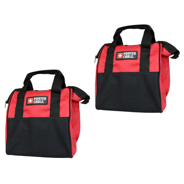 "Porter Cable 10"" Red Soft Sided Durable Tool Bag - 2 Pack"