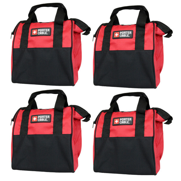"Porter Cable 10"" Red Soft Sided Durable Tool Bag - 4 Pack"