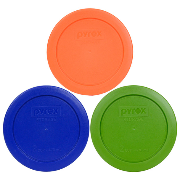 Pyrex 7200-PC 2 Cup Green, Orange and Cobalt Blue Round Plastic Lids - 3 Lids