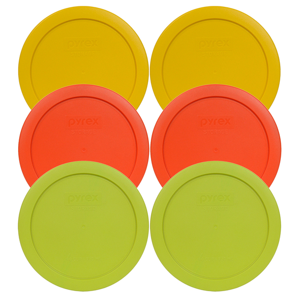 Pyrex 7201-PC (2) Yellow (2) Orange (2) Round Green Storage Lids - 6 Pack