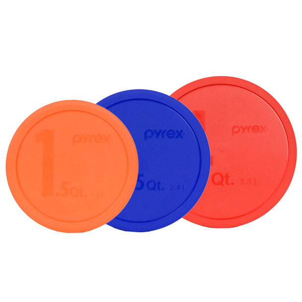 Pyrex (1) Orange 323-PC 1.5 Qt (1) 325-PC Blue 2.5 Qt (1) 326-PC Red 4 Qt Round Plastic Lids - 3 Pack