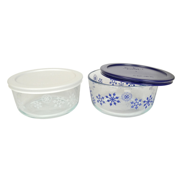 Pyrex Blue and White Decorative Glass Bowls with Plastic Lids- 2 Pack