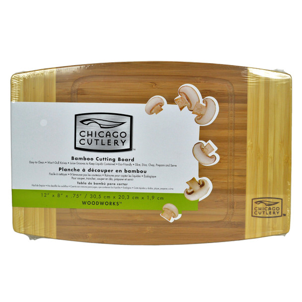 """Chicago Cutlery Woodworks 12"""" × 8"""" × 3/4"""" Bamboo Cutting Board"""