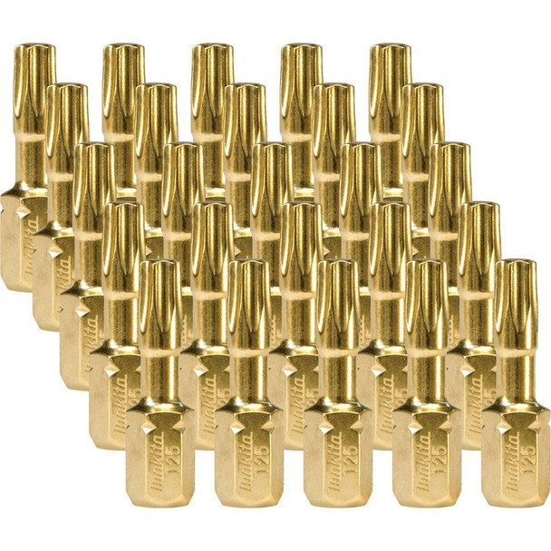 25 Makita impact gold torx insert bits with xtreme torsion technology