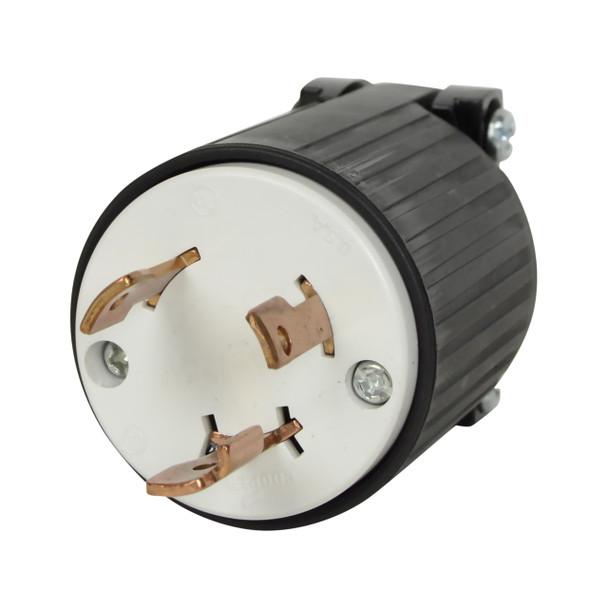Prongs of the Cooper L5-30P 125V 30A twist lock plug