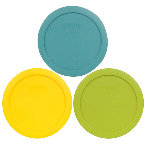Pyrex 7201-PC 4 Cup (1) Turquoise, (1) Edamame Green and (1) Yellow Round Plastic Lid