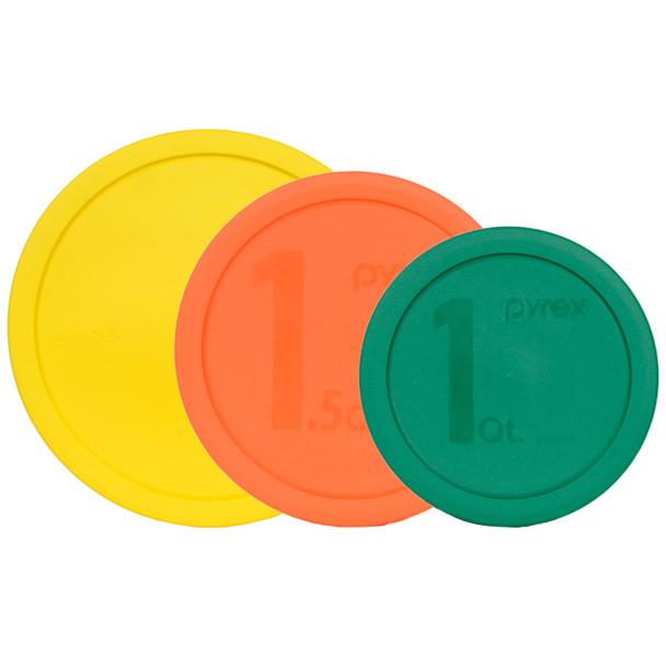 Pyrex (1)325-PC 2.5-quart Yellow, (1)323-PC 1.5-quart Orange, and (1)322-PC 1-quart Green Round Replacement Lid