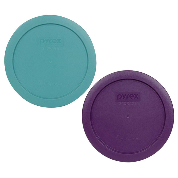 Pyrex 7201-PC (1) Light Green and (1) Purple 4 Cup Round Plastic Replacement Lid