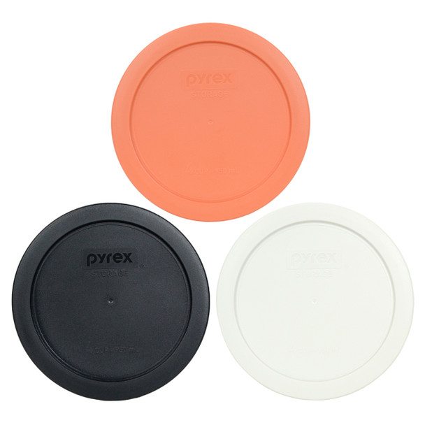 Pyrex 7201-PC Orange, Black and White 4 Cup Plastic Storage Lids - 3 Pack