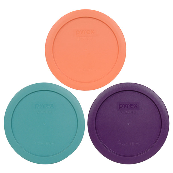 Pyrex 7201-PC Orange,Turquoise and Purple 4 Cup Storage Lids - 3 Pack