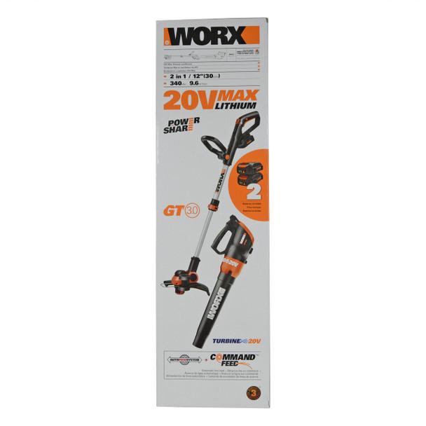 Worx WG921 20V Max Li-Ion Trimmer/Edger and Turbine Blower Combo Kit