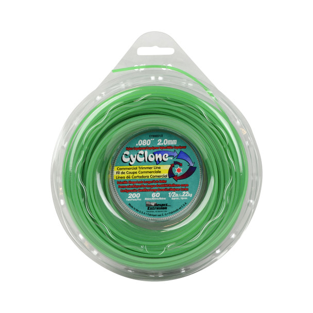"""Cyclone CY080D1/2 0.080"""" 200ft Green Commercial Trimmer Line Made in USA"""