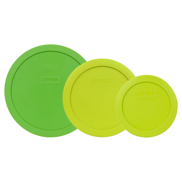 Pyrex 7402-PC, 7201-PC, and 7200-PC Green Round Plastic Lids