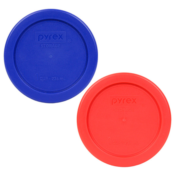 Pyrex 7202-PC Red and Cobalt Blue 1 Cup, 236mL Plastic Replacement Lids
