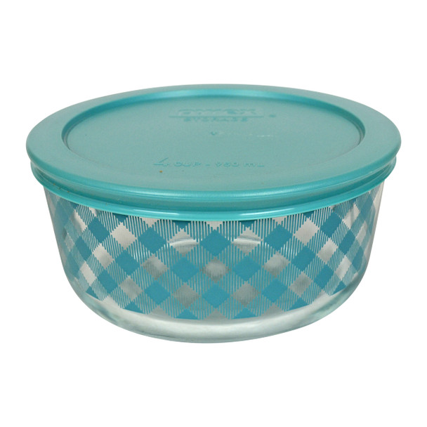 Pyrex Simply Store 4 Cup Teal Gingham Plaid Glass Bowl w/ Plastic Lid