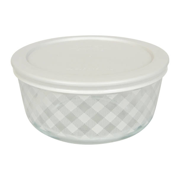 Pyrex Simply Store 4 Cup White Gingham Plaid Glass Bowl w/ Plastic Lid