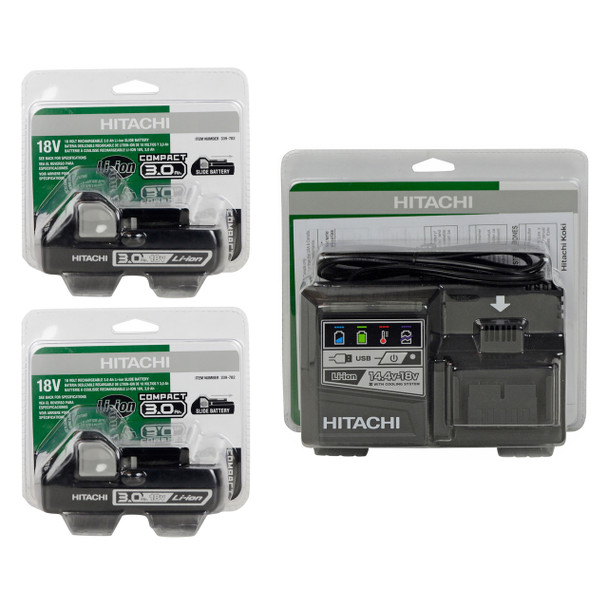Hitachi UC18YSL3 14.4-18V Charger and (2) BSL1830C Li-Ion Batteries in Retail Packaging