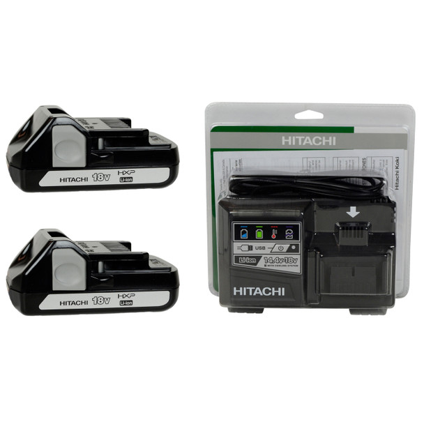 Hitachi UC18YSL3 14.4-18V Charger and (2) BSL1815X Lithium-Ion Batteries