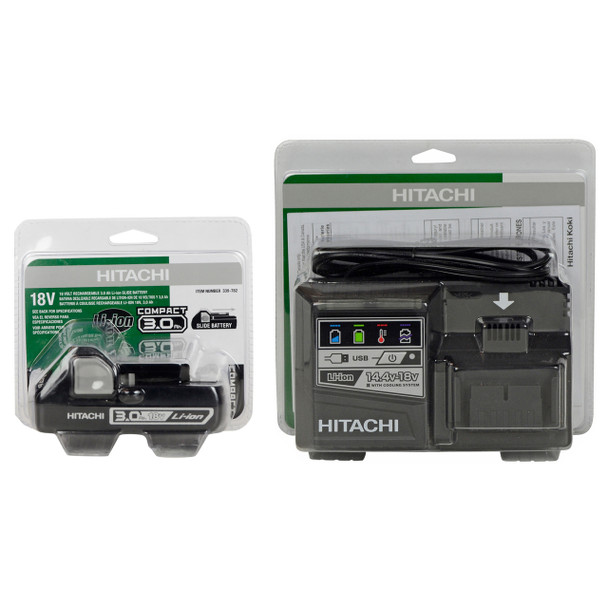 Hitachi UC18YSL3 14.4-18V Charger and (1) BSL1830C Li-Ion Battery in Retail Packaging