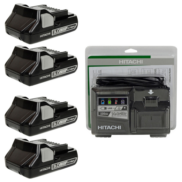 Hitachi UC18YSL3 14.4-18V Charger and (4) BSL1830C Lithium-Ion Batteries