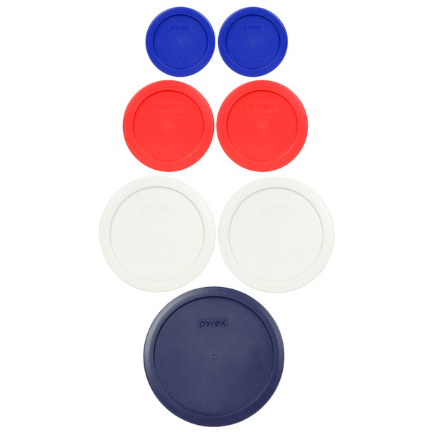 Pyrex 7202-PC, 7200-PC, 7201-PC, 7402-PC Patriotic 7pc Storage Lid Bundle