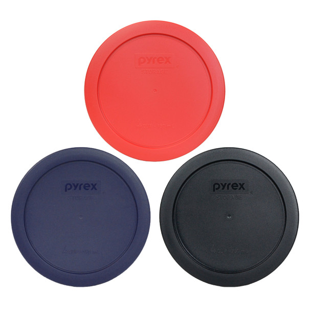 Pyrex 7201-PC Black, Blue, and Red 4-Cup Plastic Replacement Lids