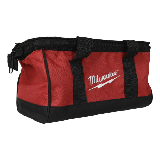 "Milwaukee 13"" x 7"" x 7"" Red and Black Canvas Tool Bag"