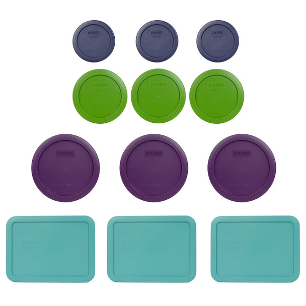 Pyrex (3) 7202-PC Blue (3) 7200-PC Green, (3) 7201-PC Purple & (3) 7210-PC Turquoise Round Plastic Storage Lids