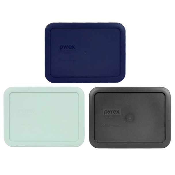 Pyrex 7210-PC 3 Cup (1) Dark Blue, (1) Muddy Aqua, and (1) Charcoal Gray Plastic Replacement Lids