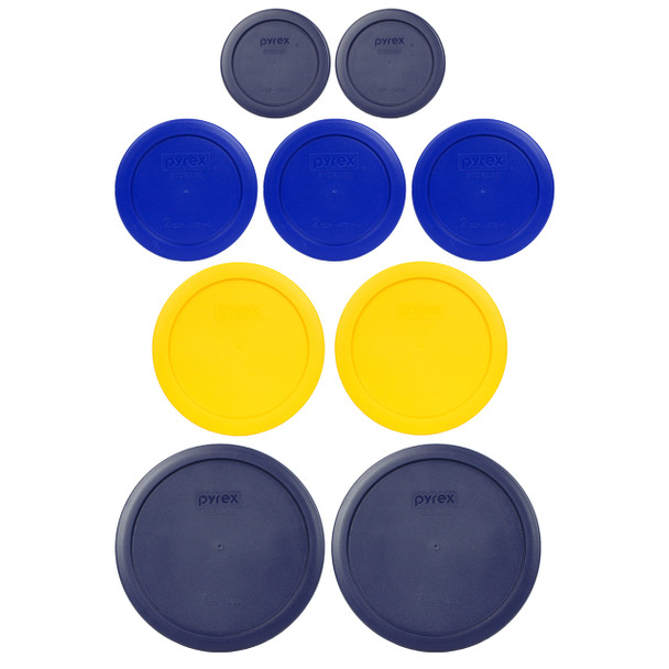 Pyrex Simply Store 7202-PC Blue, 7200-PC Cadet Blue, 7201-PC Yellow, and 7402-PC Blue 9pc Plastic Lid Set