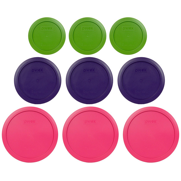Pyrex (3) 7200-PC Lawn Green, (3) 7201-PC Plum Purple & (3) 7402-PC Fuchsia Round Plastic Replacement Lids