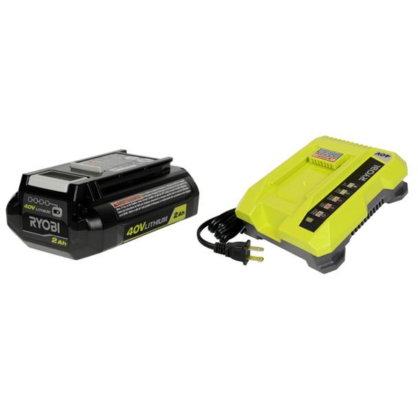 Ryobi OP401 40V Battery Charger and OP40201 Li-Ion Battery Bundle