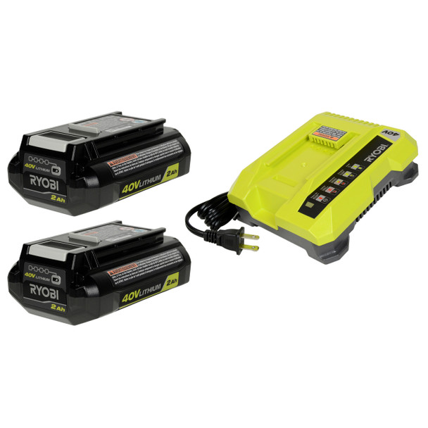 Ryobi OP401 40V Battery Charger and (2) OP40201 Li-Ion Batteries
