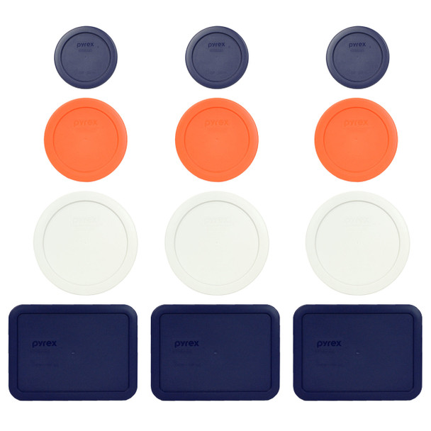 Pyrex (3) 7202-PC Blue (3) 7200-PC Orange, (3) 7201-PC White & (3) 7210-PC Blue Replacement Lids