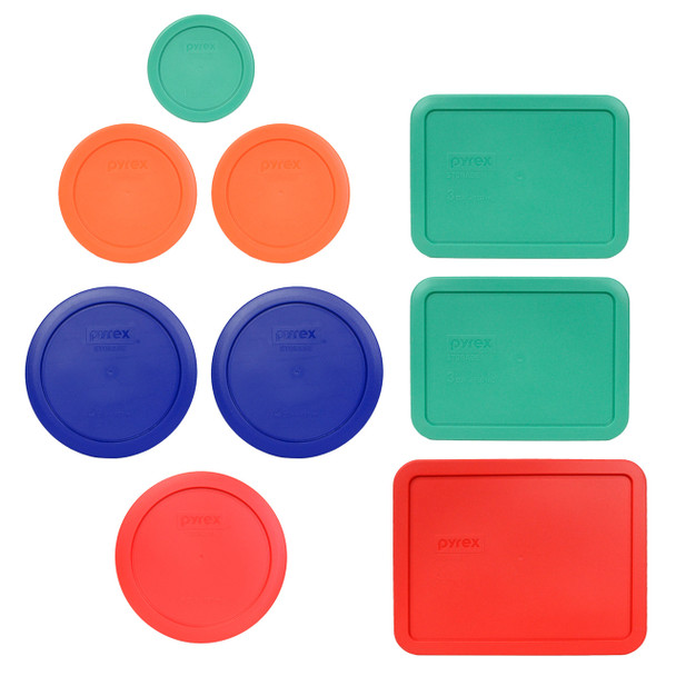 Pyrex 9pc Replacement Lid Set 7202-PC Green, 7200-PC Orange, 7201-PC Blue, 7201-PC Red, 7210-PC Green, and 7211-PC Red