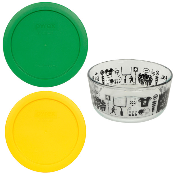 Pyrex 7201 4 Cup Football Fanatic Bowl with (2) 7201-PC Clover Green and Yellow Lids