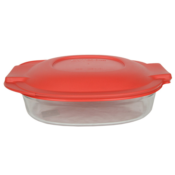 Pyrex 702 2.5QT Glass Roaster Dish and One 702-PC Red Plastic Lid